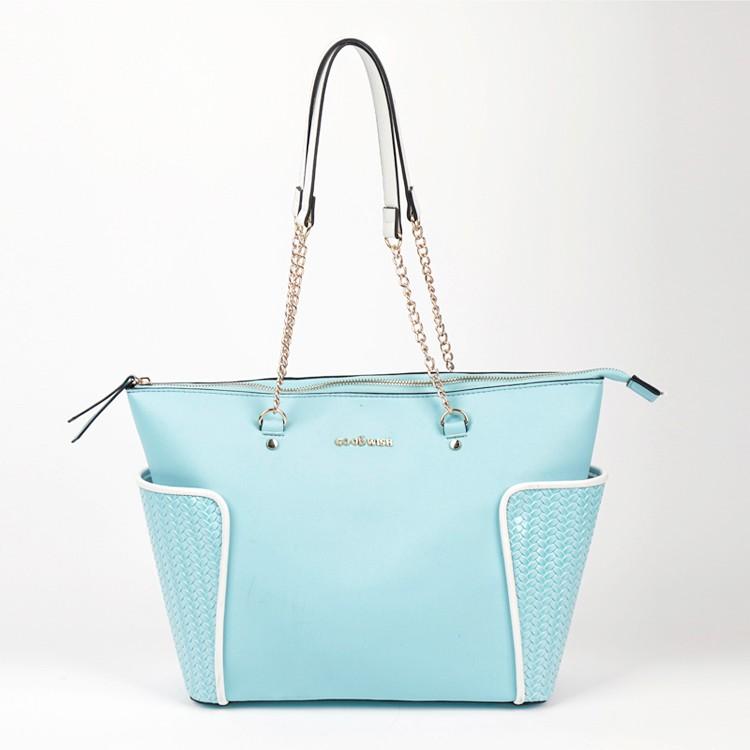 Wholesale Extra Big Azure Handbag Chain Shoulder Strap Tote Bag