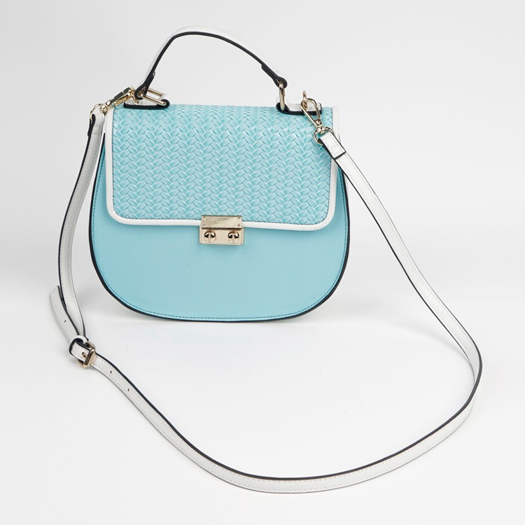 Office Lady Hand Bag Light Blue Shoulder Bag With Metal Buckle