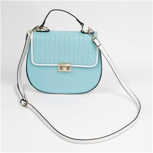 Office Lady Hand Bag Light Blue Shoulder Bag With Metal Buckle