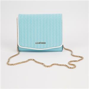 Ladies Light Blue Sling Bag Metal Chain Modern Crossbody Bag