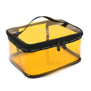 Clear PVC Square Bag Translucent Yellow Cosmetic Bag