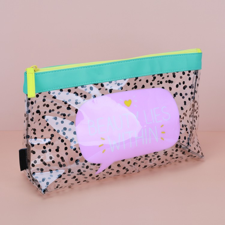 Dots Clear Colorful Cosmetic Bag Cute Transparent Pouch