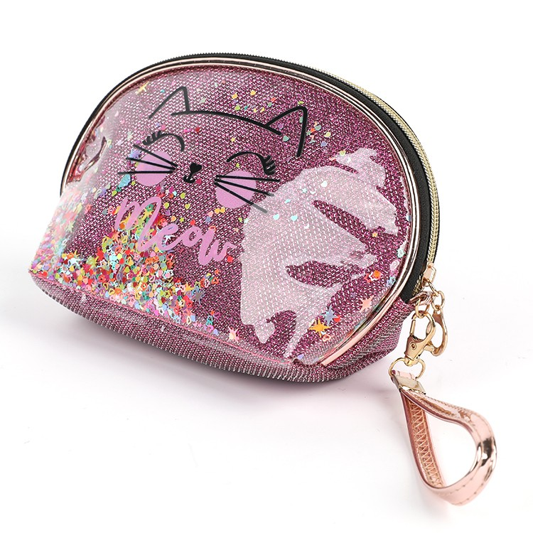 Clear PVC Coin Cute Purse Cat Pattern Kitty Mini Pouch for Girls