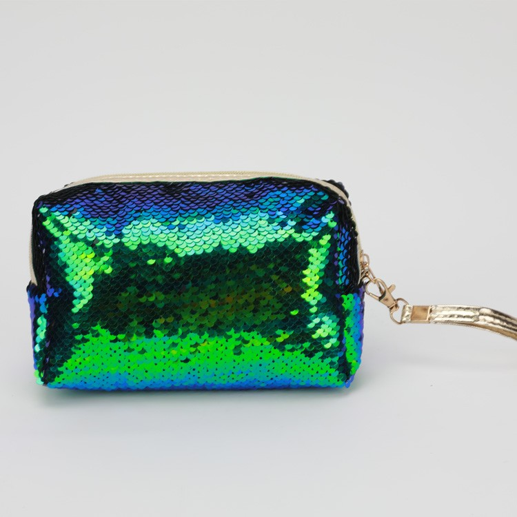Sequins Parlak Kozmetik Çantası Bling Glitter Debriyaj Yeşil Mavi Kese