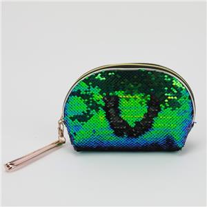 Sequins Shell Cosmetic Bag Green Blue Glitter Clutch Ladies Pouch