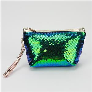 Green Sequins Cosmetic Clutch Bag Cute Girls Glitter Pouch