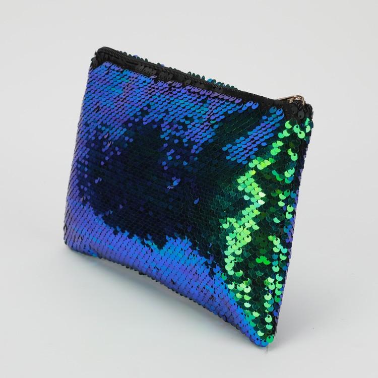 Yeşil Mavi Sequins Kozmetik Çantası Bling Glitter Debriyaj