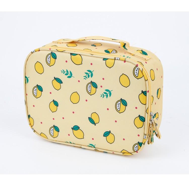 حقيبة منظم السفر نمط الليمون حقيبة الزينة الصفراء