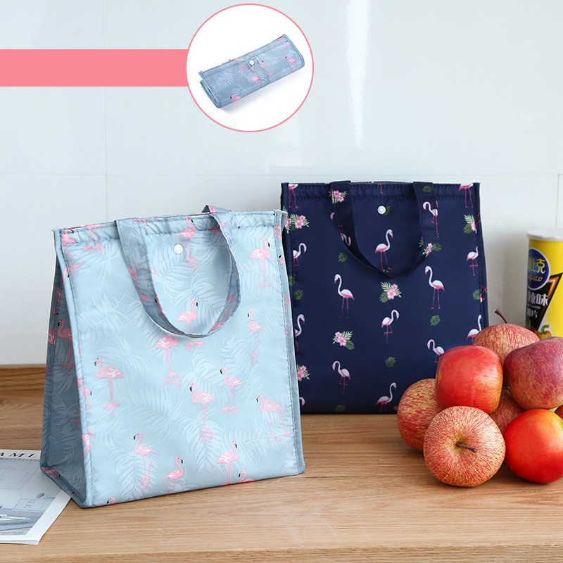 Waterproof Foldable Handbag Flamingo Insulated Lunch Bag