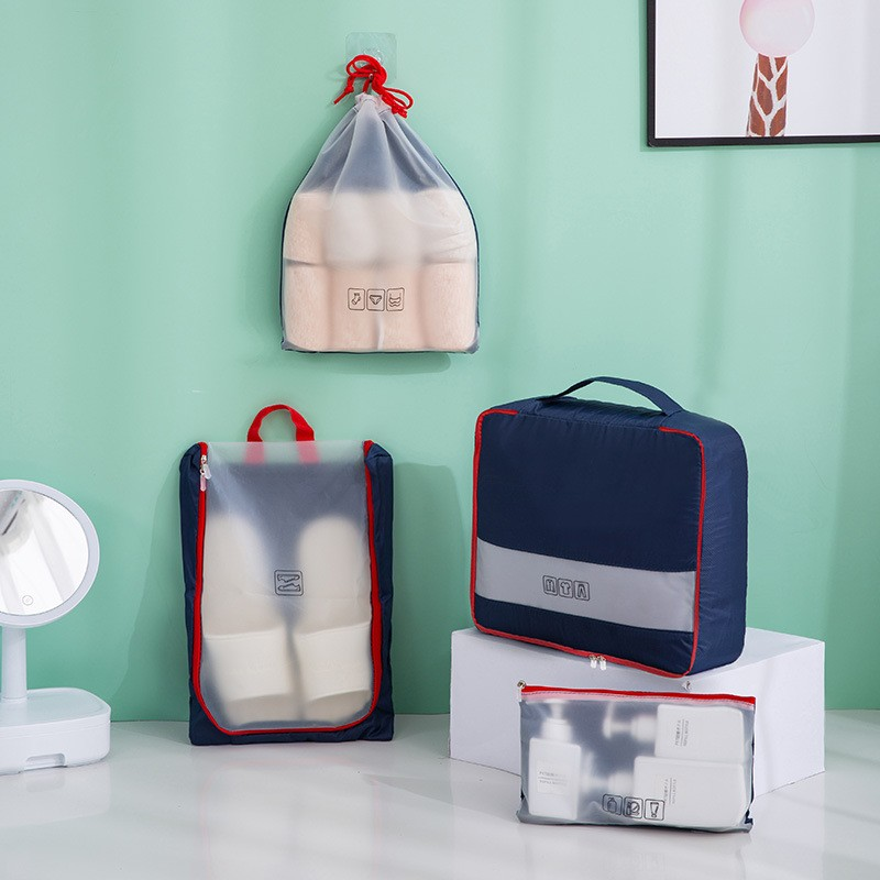 مكعبات تعبئة السفر 4 في 1 مجموعة حقائب شفافة غير مرئية
