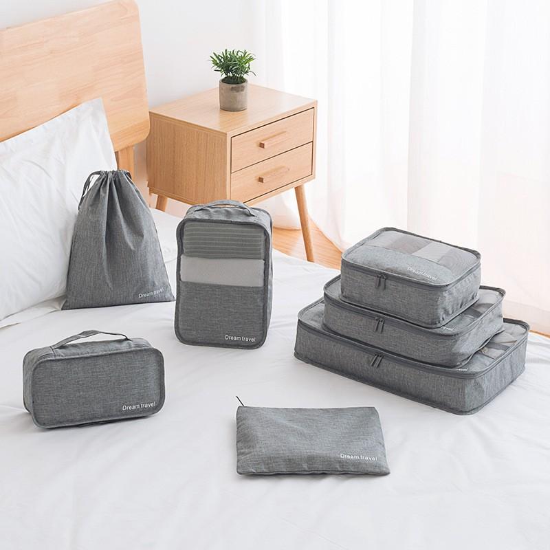 مكعبات التعبئة الرمادية للحقائب 7 مجموعة للسفر أو حقيبة أدوات الزينة