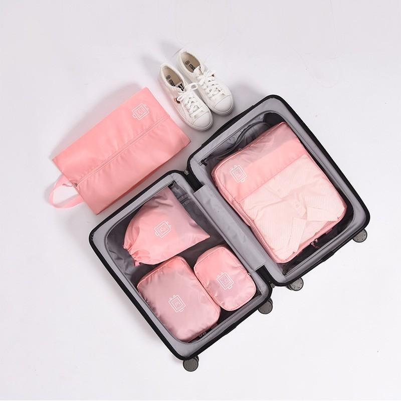 خفيفة الوزن الوردي 5 مجموعة ضغط منظم الأمتعة حقيبة
