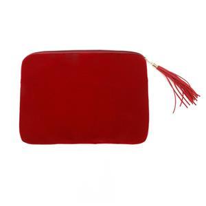 Parlak Kırmızı Flanel Kadife Laptop Çantası Püsküllü Tablet Çantası