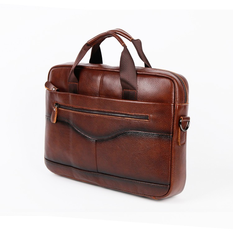 Genuine Grit Leather Laptop Bag Old-fashioned Messenger Bag