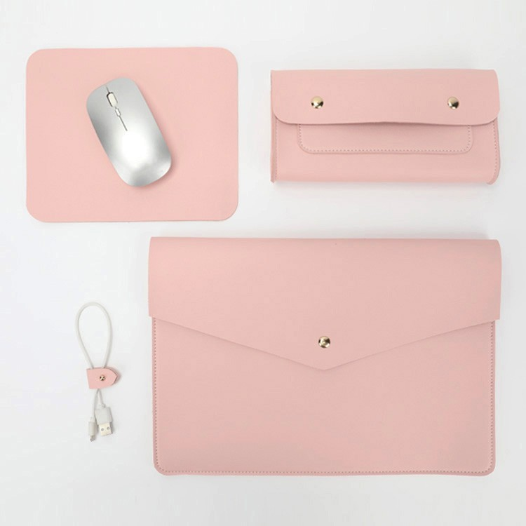 Genuine Cow Leather Laptop Sleeve Case Set With Mouse Pad