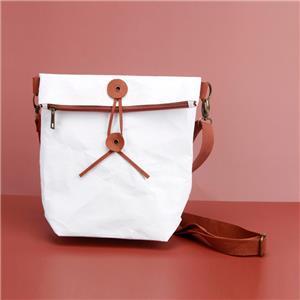 Foldable Paper Document Bag Slim White Kraft Sling Bag Office