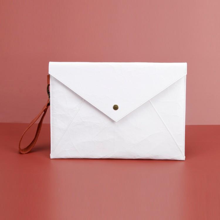 Vintage Kraft Envelop Handbag White Slim Paper Clutch Bag