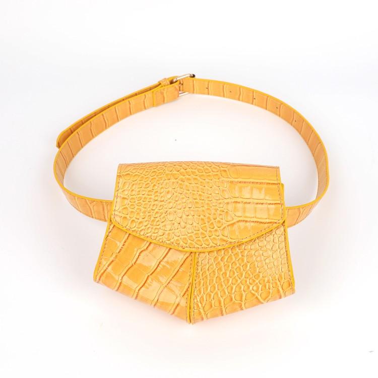 حقيبة الخصر صفراء نمط التمساح حزمة مراوح طباعة التمساح