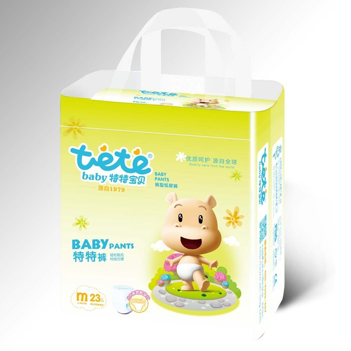 Disposable Non-Woven Fabric 3D Leak Prevention Training Baby Pants Diapers