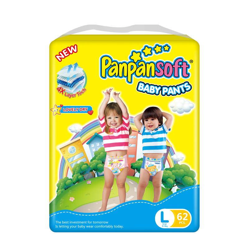 Одноразовые одноразовые хлопковые подгузники с мягким поясом, подтягивающие штаны для малышей