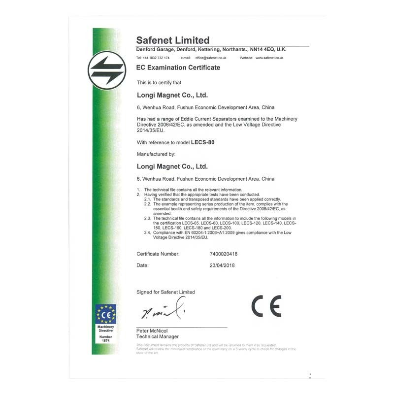 EC Examination certificate for eddy current separator