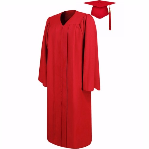 Matte Red Graduation Cap and Gown