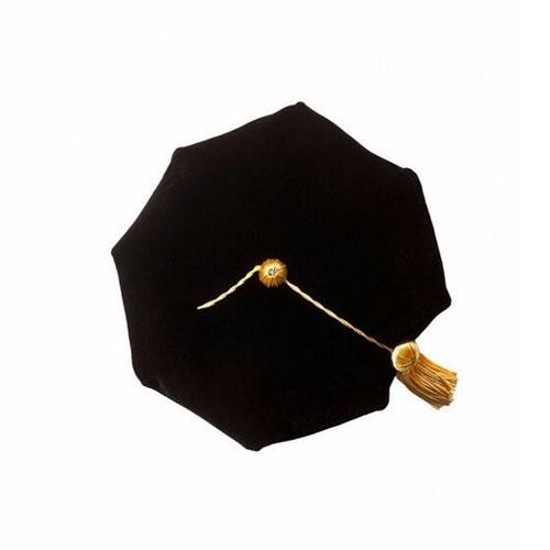 Doctoral Tam Black Velvet 8-sided W/gold Bullion Tassel One Size Fits Most