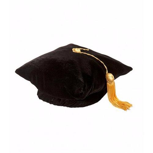 Unisex Doctoral Graduation Tam Black Velvet 4-sided with Gold Bullion Tassel Satin Silk Band