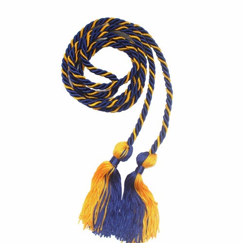 Royal Blue and Gold Honor Cords with Blocked Tassels