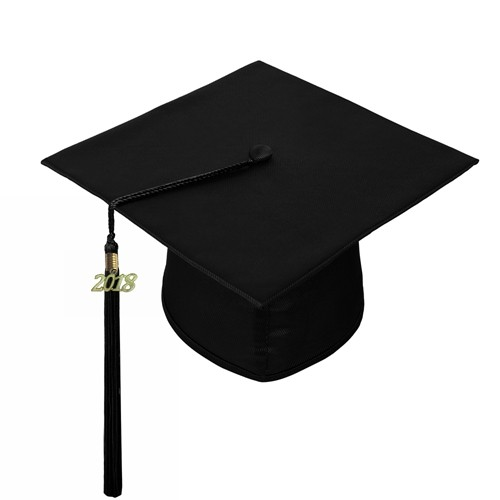 Shiny Black Graduation Hat with Tassel Year Charm 2018