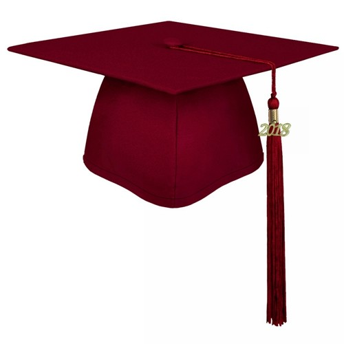 Matte Maroon Decorated Graduation Cap