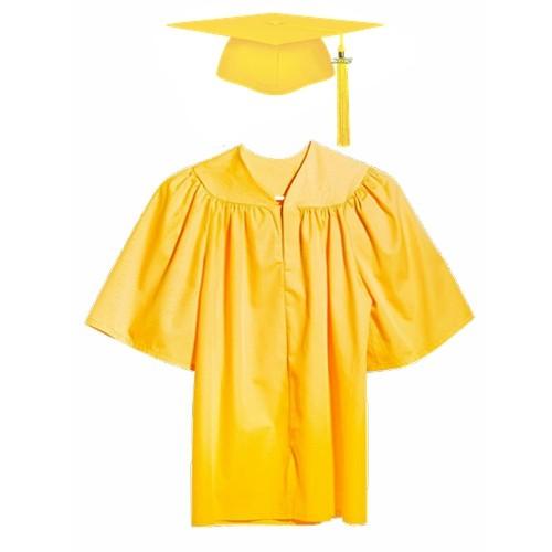 Matte Gold Children Graduation Gown Cap with Tassel 2018