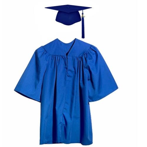 Matte Royal Blue Kindergarten Graduation Cap Gown
