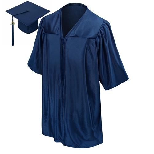 Shiny Navy Blue Graduation Gown Children