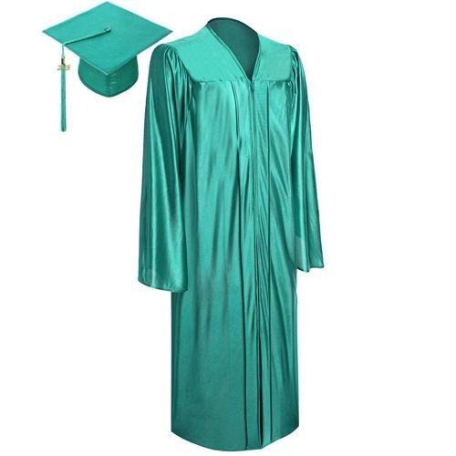 Shiny Emerald Green Graduation Cap Gown