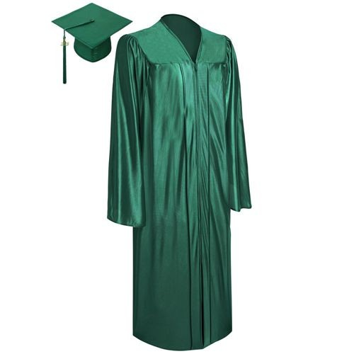 Shiny Forest Green Graduation Cap Gown