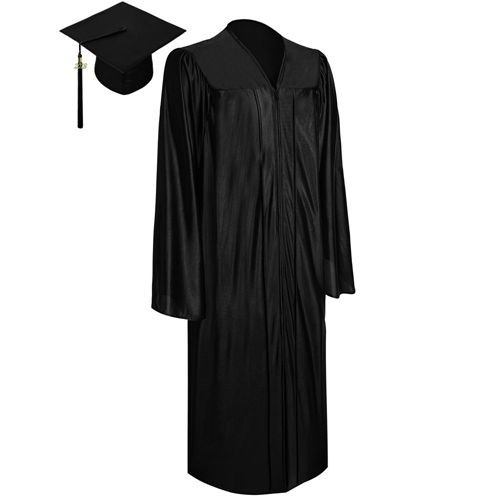 Shiny Black Graduation Cap and Gown