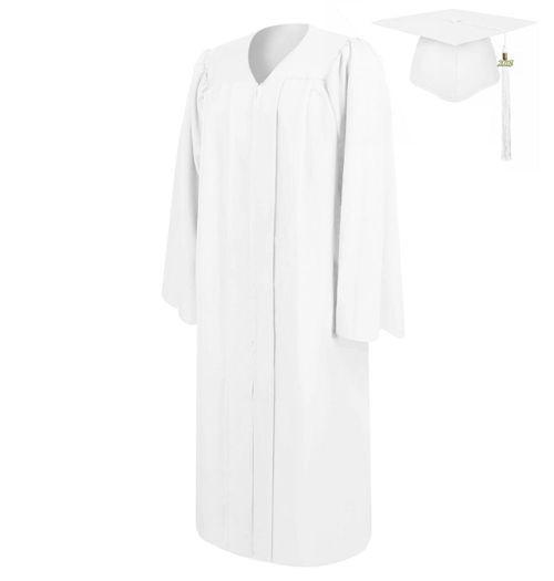 Matte White Graduation Cap Gown