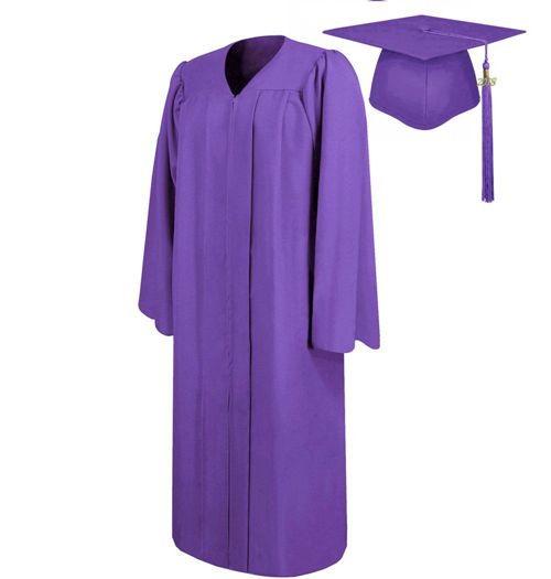 Matte Purple Graduation Cap Gown