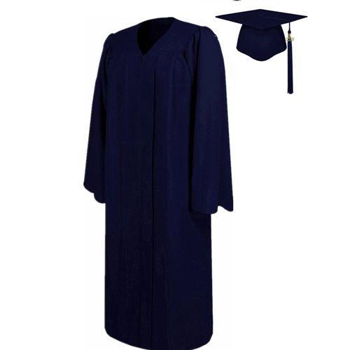 Matte Navy Graduation Cap Gown
