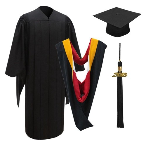 Deluxe Academic Cap , Gown , Tassel and Hood for Master Graduate