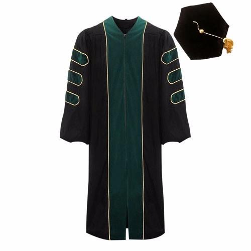 Deluxe Frost Green Doctoral Hexagon Cap gown