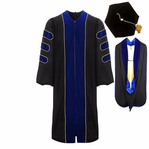 Luxurious Doctoral Graduation 6 Sided Cap , Hood and Gown