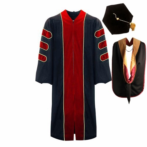 Deluxe Doctoral Red Graduation Gown , Six sided Tam and Hood