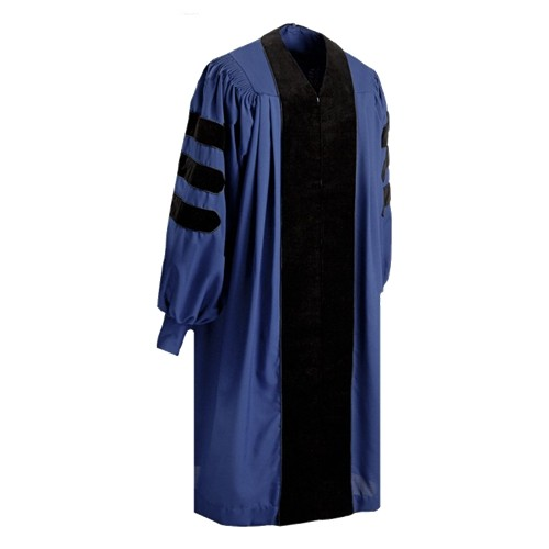 Deluxe Navy Blue Graduation Doctoral Gown