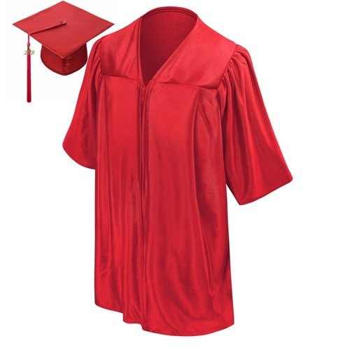 Shiny Red Kids Graduation Cap Gown with 2018 Tassel