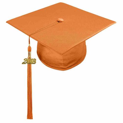 Shiny Orange High School Graduation Cap