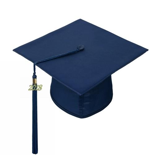 Adult Shiny Navy Blue Graduation Hat