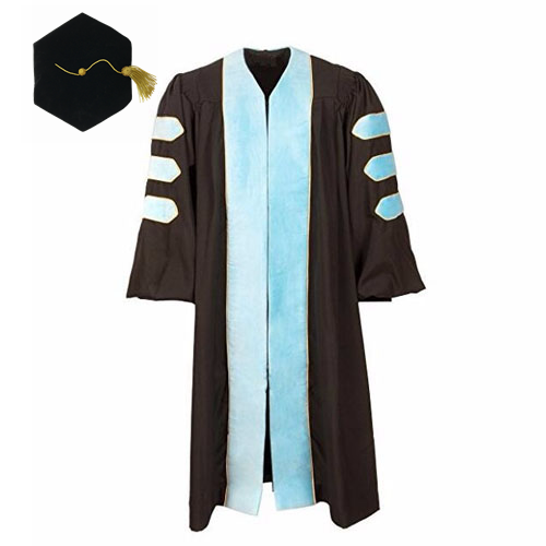 Deluxe Doctoral Graduation Cap Robes in Sky Blue