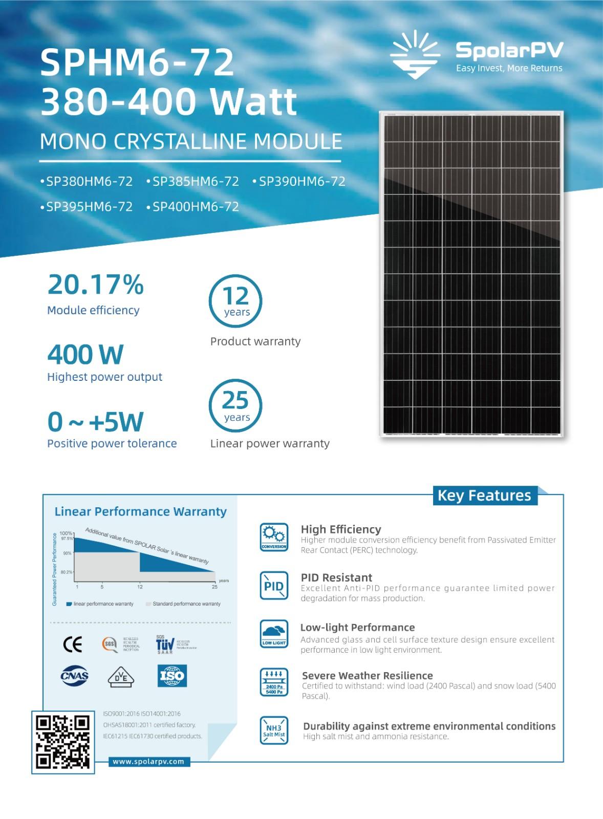 72-cell monocrystalline solar panel